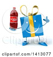 Clipart Of A 3d Blue Gift Character Holding A Soda Bottle On A White Background Royalty Free Illustration