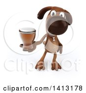 Clipart Of A 3d Brown Dog On A White Background Royalty Free Illustration by Julos