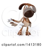 Clipart Of A 3d Brown Dog On A White Background Royalty Free Illustration