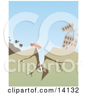 Car Stopped At The Edge Of A Crack Near A Collapsing Building During A Big Earthquake Natural Hazard Clipart Illustration