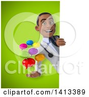 Clipart Of A 3d Young Black Male Doctor Royalty Free Illustration by Julos