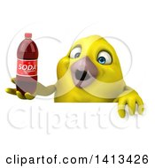 Clipart Of A 3d Yellow Bird On A White Background Royalty Free Illustration