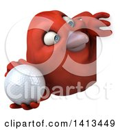 Clipart Of A 3d Red Bird On A White Background Royalty Free Illustration