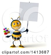 Clipart Of A 3d Male Bee On A White Background Royalty Free Illustration by Julos