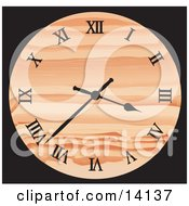Patterned Orange Wall Clock Showing 337 Clipart Illustration