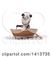Clipart Of A 3d Sailor Panda Rowing A Boat On A White Background Royalty Free Illustration