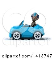 Clipart Of A 3d Alien Driving A Convertible Car On A White Background Royalty Free Illustration