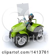 Clipart Of A 3d Alien Operating A Tractor On A White Background Royalty Free Illustration