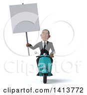 Clipart Of A 3d Young Black Business Man On A Scooter On A White Background Royalty Free Illustration