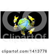 Clipart Of A 3d Planet Earth Encircled With Rockets On Black Royalty Free Illustration