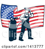 Retro Full Length Male Welder Looking Back Over His Shoulder In Front Of A Wavy American Flag
