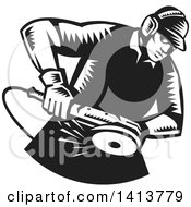 Poster, Art Print Of Retro Black And White Woodcut Male Worker Using An Angle Grinder