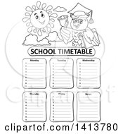 Black And White School Time Table With A Professor Owl And Sun