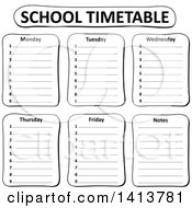 Clipart Of A Black And White School Time Table Royalty Free Vector Illustration