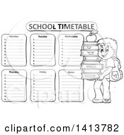 Clipart Of A Black And White School Time Table With A School Boy Royalty Free Vector Illustration