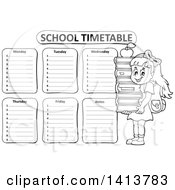 Clipart Of A Black And White School Time Table With A School Girl Royalty Free Vector Illustration