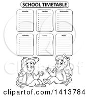 Clipart Of A Black And White School Time Table With Students Royalty Free Vector Illustration