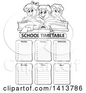 Clipart Of A Black And White School Time Table With Students Over A Book Royalty Free Vector Illustration