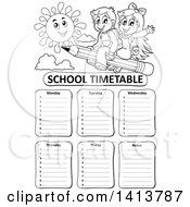 Clipart Of A Black And White School Time Table With Students Riding A Pencil Royalty Free Vector Illustration