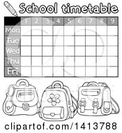 Clipart Of A Grayscale School Time Table With Backpacks Royalty Free Vector Illustration