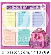 Clipart Of A School Time Table And Pink Backpack Royalty Free Vector Illustration