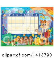 Clipart Of A Cat Student Waving By A School Timetable In Autumn Royalty Free Vector Illustration