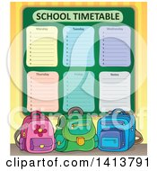 Clipart Of A School Time Table And Backpacks Royalty Free Vector Illustration