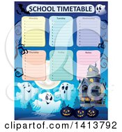 Clipart Of A School Time Table And Haunted House Royalty Free Vector Illustration