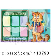 Clipart Of A Cat Student Waving By A School Time Table Royalty Free Vector Illustration