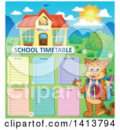 Clipart Of A Cat Student Waving By A School Time Table And Building Royalty Free Vector Illustration