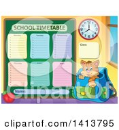 Clipart Of A School Time Table And Cat In A Backpack Royalty Free Vector Illustration
