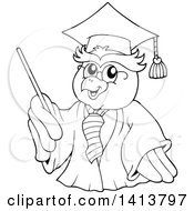 Black And White Lineart Professor Owl