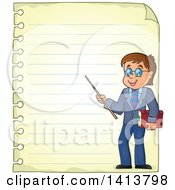 Sheed Of Ruled School Paper With A Male Teacher