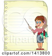 Sheed Of Ruled School Paper With A Female Teacher