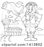 Cartoon Black And White Lineart Male Aviator Standing With His Hands On His Hips At An Airport