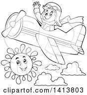 Clipart Of A Black And White Lineart Male Aviator Waving And Flying A Plane Royalty Free Vector Illustration by visekart