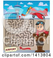 Clipart Of A Maze Of An Airplane Airport And Happy Caucasian Male Aviator Standing With His Hands On His Hips Royalty Free Vector Illustration by visekart