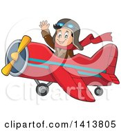 Clipart Of A Happy Caucasian Male Aviator Waving And Flying A Plane Royalty Free Vector Illustration