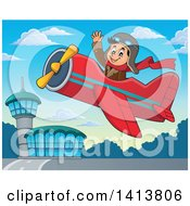 Clipart Of A Happy Caucasian Male Aviator Waving And Flying A Plane Near An Airport Royalty Free Vector Illustration by visekart