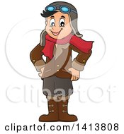 Clipart Of A Happy Caucasian Male Aviator Standing With His Hands On His Hips Royalty Free Vector Illustration by visekart