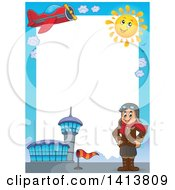 Clipart Of A Border Of An Airport Plane Sun And Caucasian Male Aviator Standing With His Hands On His Hips Royalty Free Vector Illustration by visekart