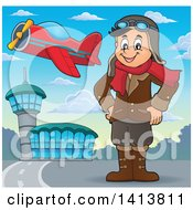 Clipart Of A Happy Caucasian Male Aviator Standing With His Hands On His Hips At An Airport Royalty Free Vector Illustration by visekart