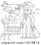 Clipart Of A Black And White Lineart Pilot And Airplane At An Airport Royalty Free Vector Illustration by visekart