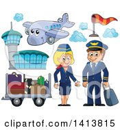 Clipart Of A Happy Caucasian Male Pilot And Female Flight Attendant With A Plane Airport And Luggage Royalty Free Vector Illustration