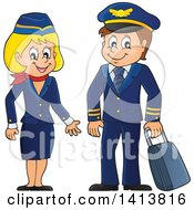 Clipart Of A Happy Caucasian Male Pilot And Flight Attendant Royalty Free Vector Illustration