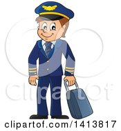Clipart Of A Happy Caucasian Male Pilot Royalty Free Vector Illustration