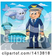 Clipart Of A Happy Caucasian Male Pilot At An Airport Royalty Free Vector Illustration by visekart