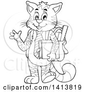Clipart Of A Black And White Lineart Cat Student Waving Royalty Free Vector Illustration