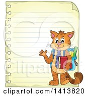 Clipart Of A Sheed Of Ruled School Paper With A Waving Student Cat Royalty Free Vector Illustration