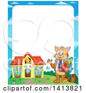 Clipart Of A Border With A Cat Student Waving And Building Royalty Free Vector Illustration